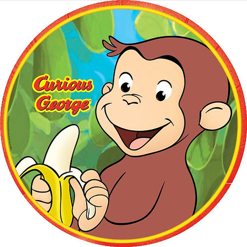 """Curious George 8"""" Round Edible Cake Topper"""