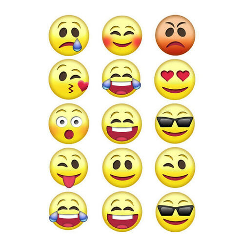15 x Emoji Edible Wafer Cupcake Toppers