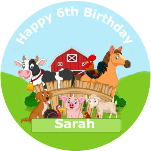 """Farm Animals Personalised 8"""" Round Edible Cake Topper"""