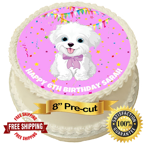 """Cute White Dog Personalised 8"""" Round Edible Cake Topper"""