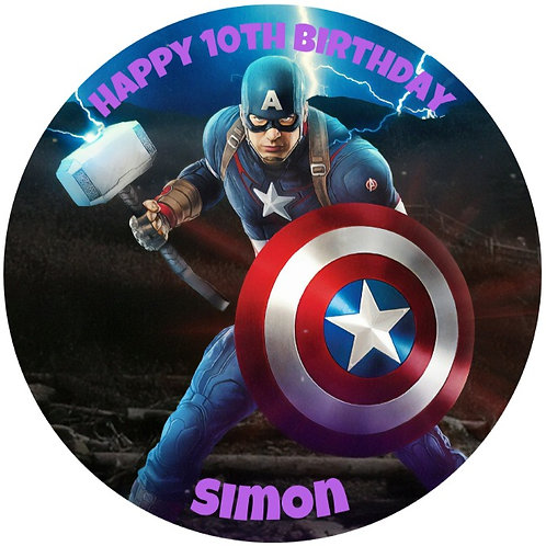 """Captain America Personalised 8"""" Round Edible Cake Topper #1"""