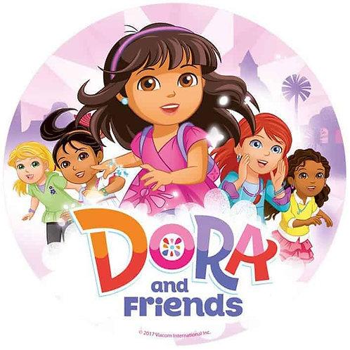 """Dora & Friends 8"""" Round Edible Cake Topper"""