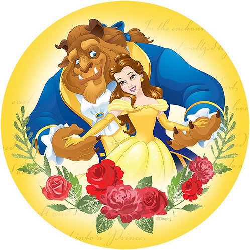 "Beauty And The Beast 8"" Round Edible Cake Topper #1"