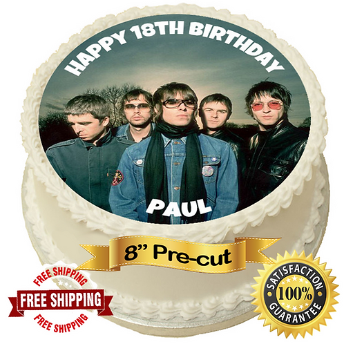 """Oasis Band Personalised 8"""" Round Edible Cake Topper"""