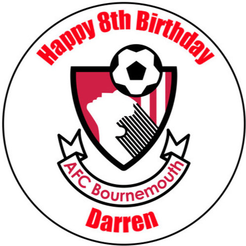 "Bournemouth FC Personalised 8"" Round Edible Cake Topper"