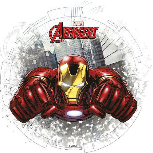 """Iron Man 8"""" Round Edible Cake Topper"""