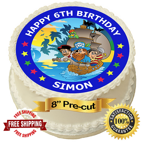"""Pirate Ship Personalised 8"""" Round Edible Cake Topper"""