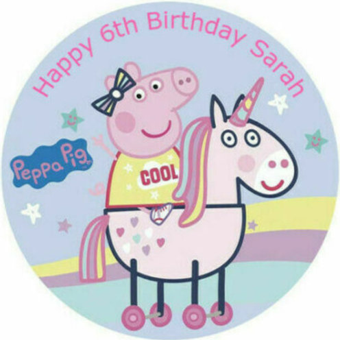 """Peppa Pig Personalised 8"""" Round Edible Cake Topper #8"""