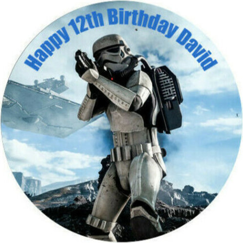 """Star Wars Storm Trooper Personalised 8"""" Round Edible Cake Topper #2"""
