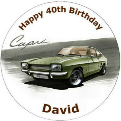 "Ford Capri Mk 1 Personalised 8"" Round Edible Cake Topper #2"