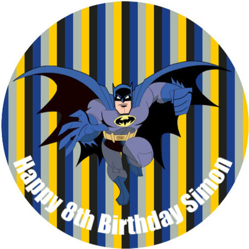 "Batman Personalised 8"" Round Edible Cake Topper #3"