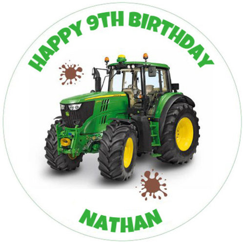 "John Deere Tractor Personalised 8"" Round Edible Cake Topper"