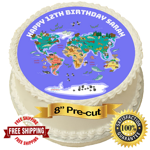 "World Map Children's Personalised 8"" Round Edible Cake Topper"