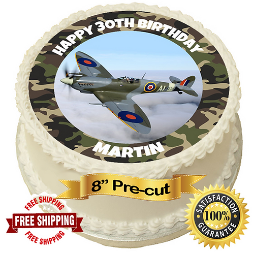 """Spitfire Plane Personalised 8"""" Round Edible Cake Topper"""