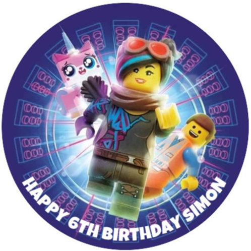 "Lego Movie Personalised 8"" Round Edible Cake Topper #2"