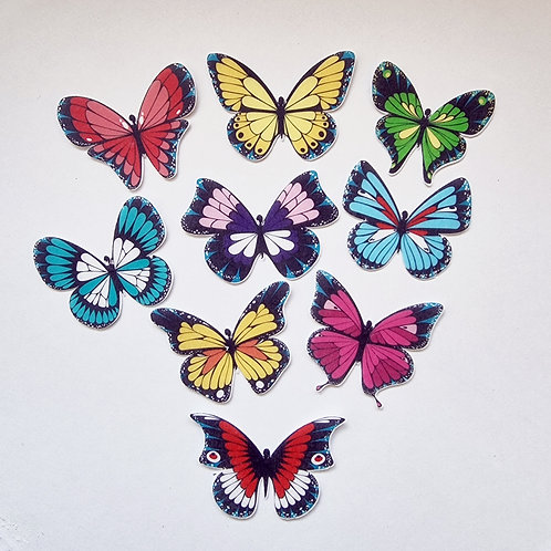 18 x Colourful Butterfly Mix Precut Edible Wafer Cupcake Toppers