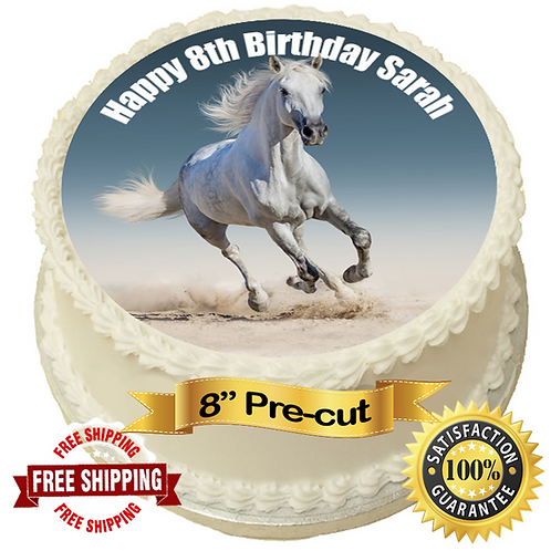 """Horse Theme Personalised 8"""" Round Edible Cake Topper #1"""