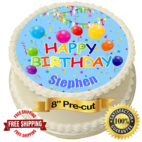 "Happy Birthday Blue Personalised 8"" Round Edible Cake Topper"