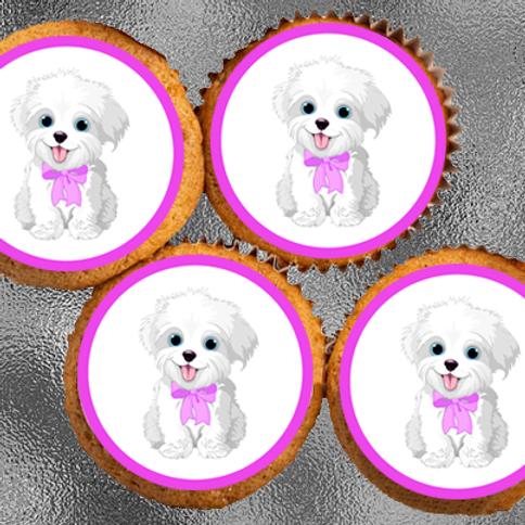 12 x Cute White Dog Precut Edible Wafer Cupcake Toppers
