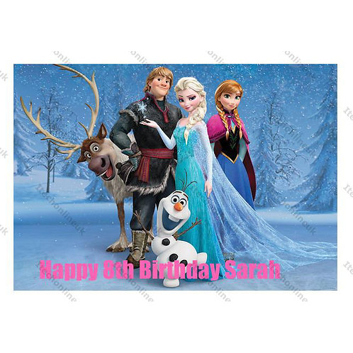 Frozen Personalised Edible A4 Sized Cake Topper