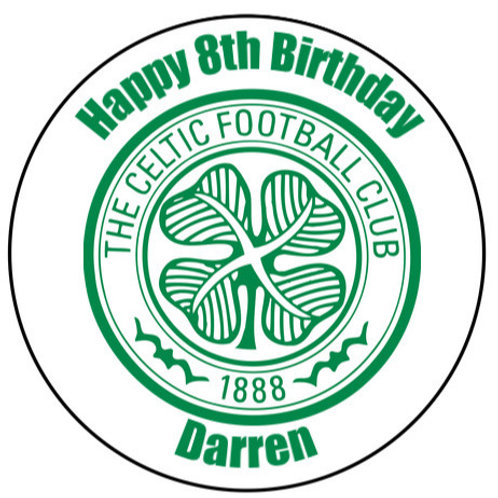 """Celtic FC Personalised 8"""" Round Edible Cake Topper"""