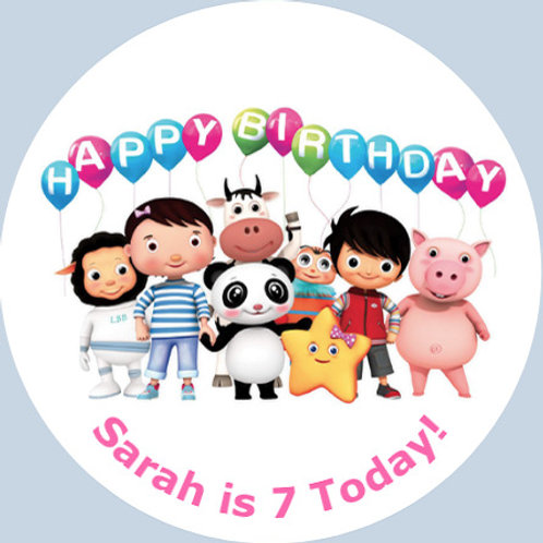 """Little Baby Bum Personalised 8"""" Round Edible Cake Topper #1"""
