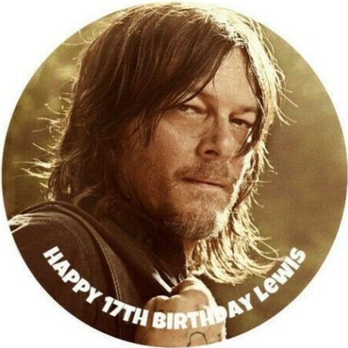 """The Walking Dead Daryl Dixon Personalised 8"""" Round Edible Cake Topper #4"""