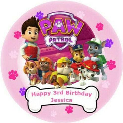 "Paw Patrol Personalised 8"" Round Edible Cake Topper #5"