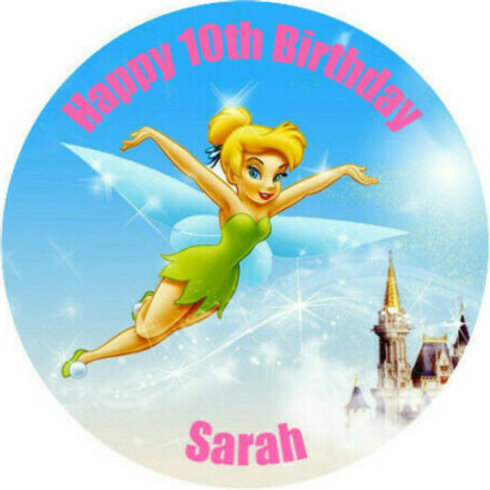 """Tinkerbell Personalised 8"""" Round Edible Cake Topper"""