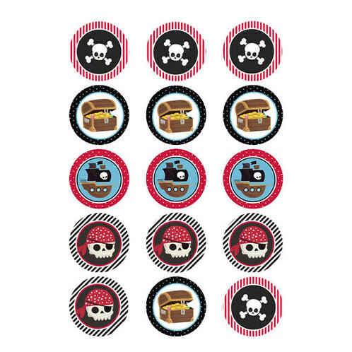 15 x Pirate Edible Cupcake Toppers