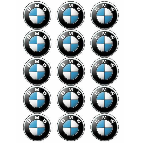 15 x BMW Logo Edible Cupcake Toppers