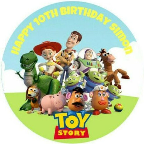 """Toy Story Team Personalised 8"""" Round Edible Cake Topper #2"""
