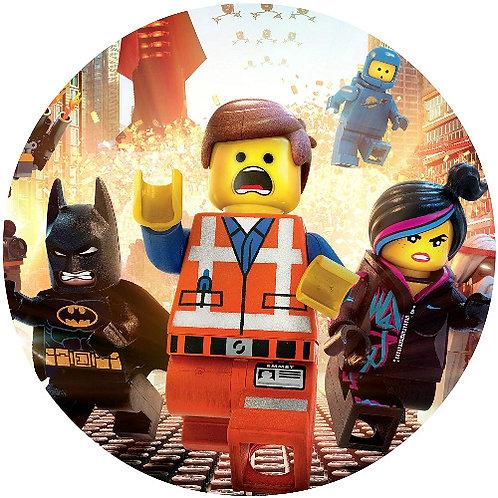 "Lego The Movie 8"" Round Edible Cake Topper"