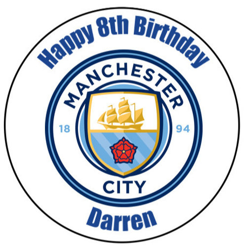 """Manchester City FC Personalised 8"""" Round Edible Cake Topper"""