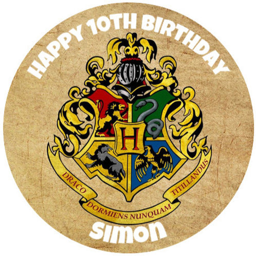"""Harry Potter Hogwarts Personalised 8"""" Round Edible Cake Topper"""