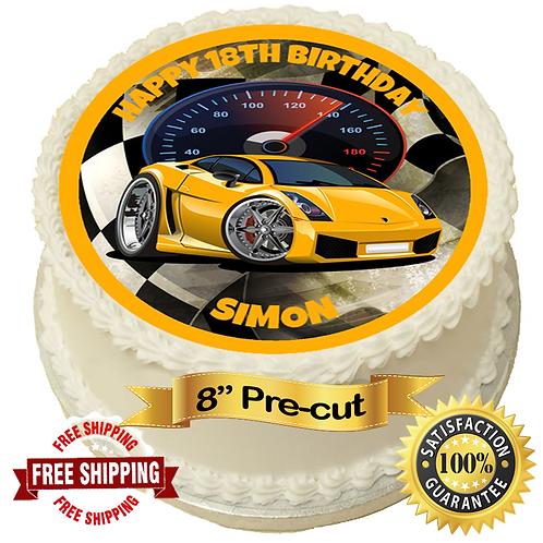 "Yellow Sportscar Personalised 8"" Round Edible Cake Topper"