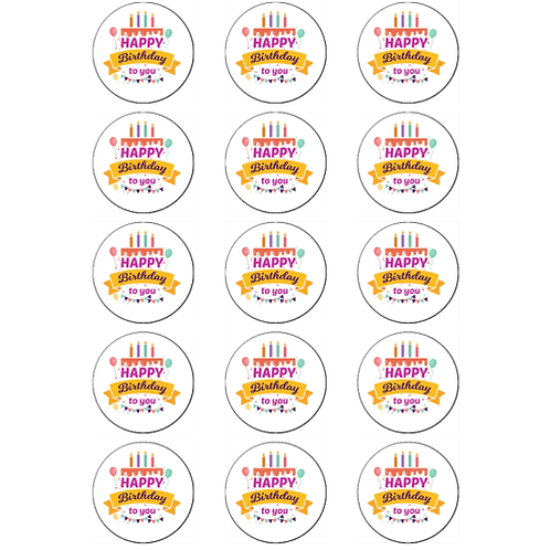 15 x Happy Birthday Edible Cupcake Toppers #2