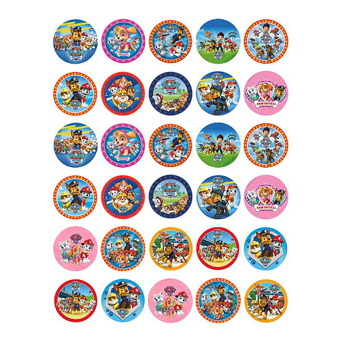 30 x Paw Patrol Edible Wafer Cupcake Toppers