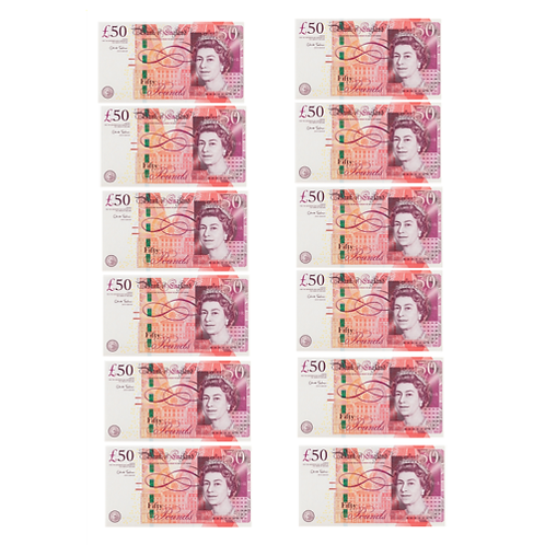 12 x £50 Notes Edible Wafer Cake Toppers