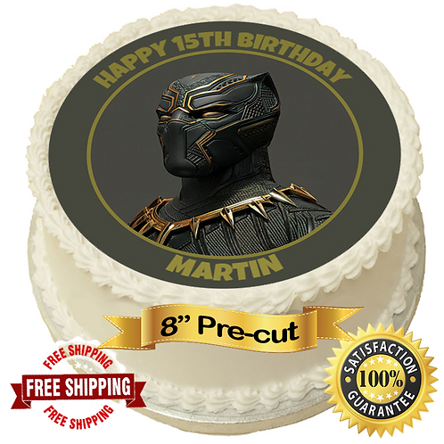 """Black Panther Theme Personalised 8"""" Round Edible Cake Topper"""