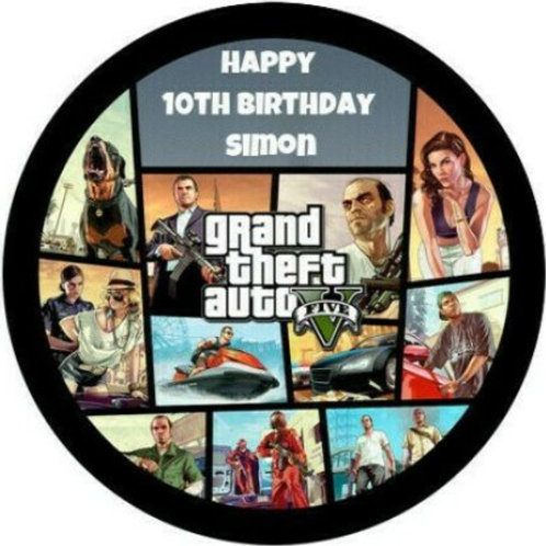 "Grand Theft Auto 5 Personalised 8"" Round Edible Cake Topper"