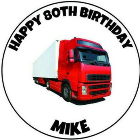 """Red HGV Lorry Personalised 8"""" Round Edible Cake Topper"""