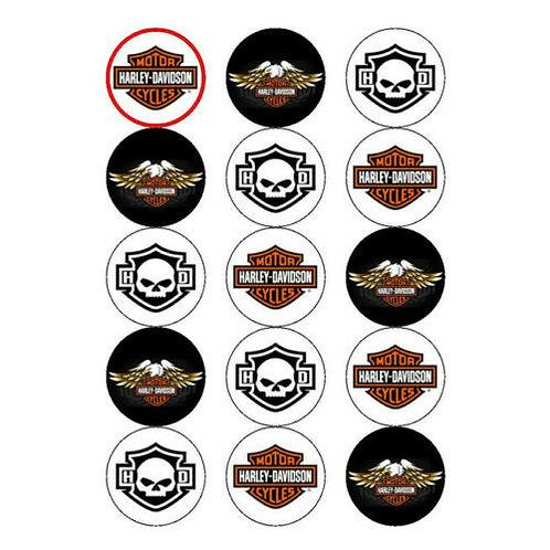 15 x Harley Davidson Edible Cupcake Toppers