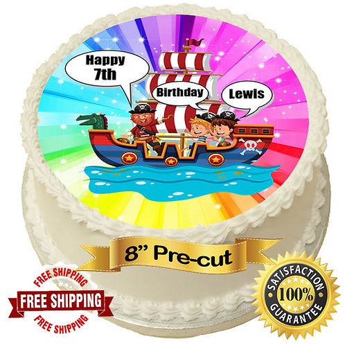 """Pirate Theme Personalised 8"""" Round Edible Cake Topper"""