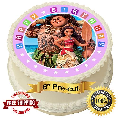 "Moana Theme 8"" Round Edible Cake Topper"
