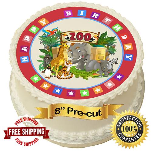 """Zoo Theme 8"""" Round Edible Cake Topper"""