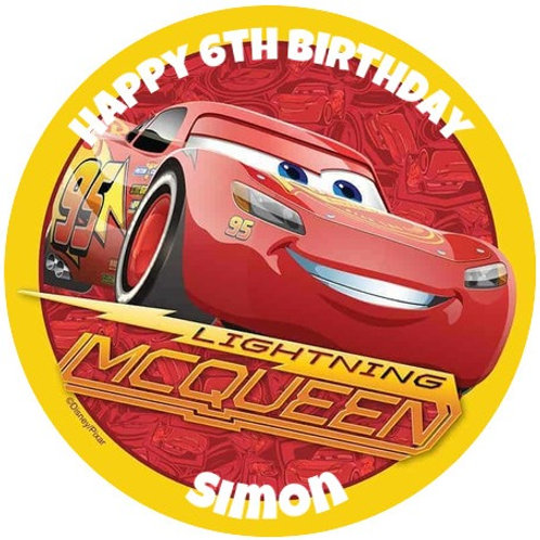 """Lightning McQueen Personalised 8"""" Round Edible Cake Topper"""