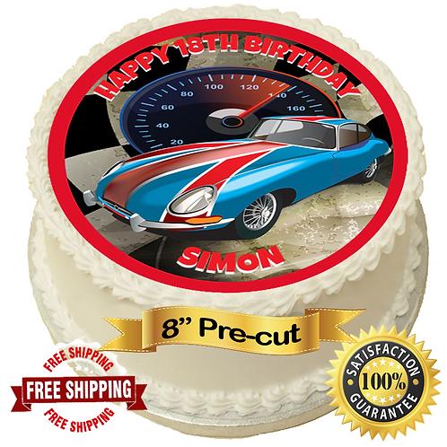 "Retro Sportscar Personalised 8"" Round Edible Cake Topper"