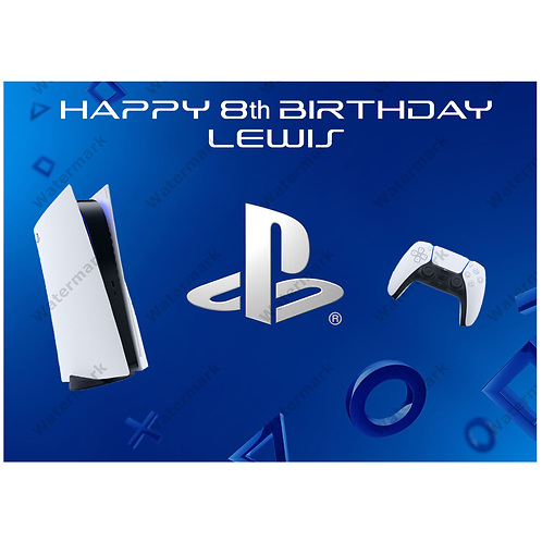 Playstation Personalised Edible A4 Sized Cake Topper