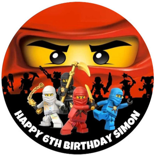 "Lego Ninjago Personalised 8"" Round Edible Cake Topper"